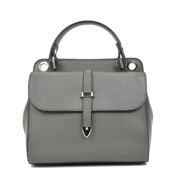 Šedá kožená kabelka s 2 kapsami Carla Ferreri