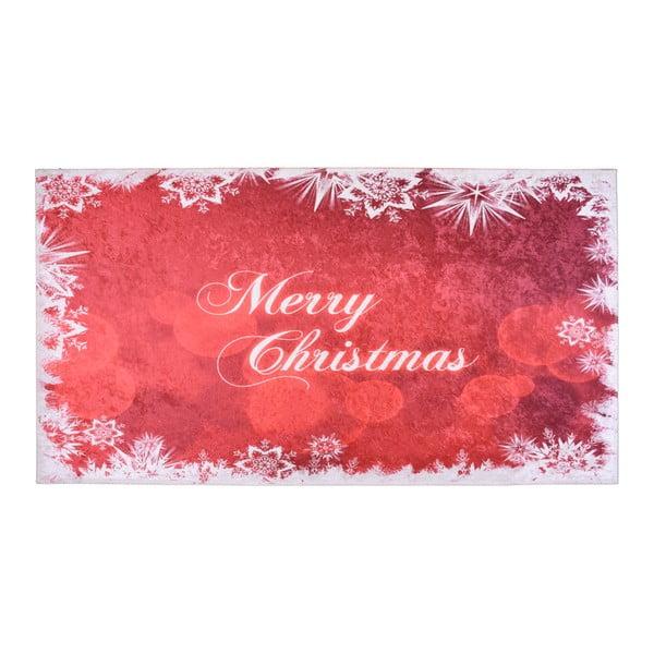 Biało-czerwony dywan Vitaus Merry Christmas, 50x80 cm