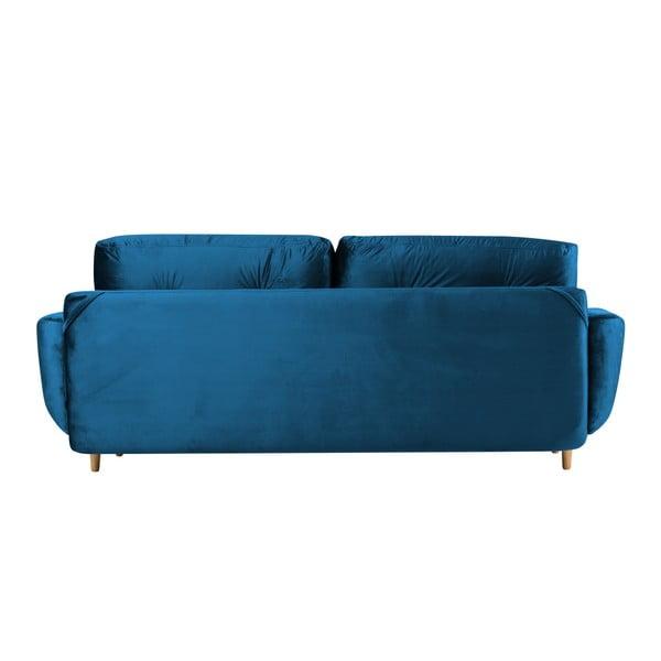 Modrá rozkládací třímístná pohovka s úložným prostorem Mazzini Sofas Silva