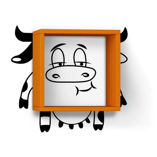 Nástěnná police se samolepkou Cow, oranžová