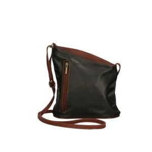 Černo-hnědá kožená kabelka Chicca Borse Garturo