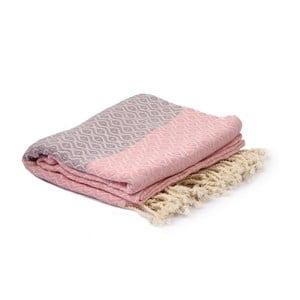 Fialovo-růžový hammam ručník Spa Time Dot, 95x180cm