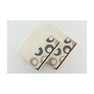 Sada 2 osušek Arion Cream, Dark Brown, 50x90 cm