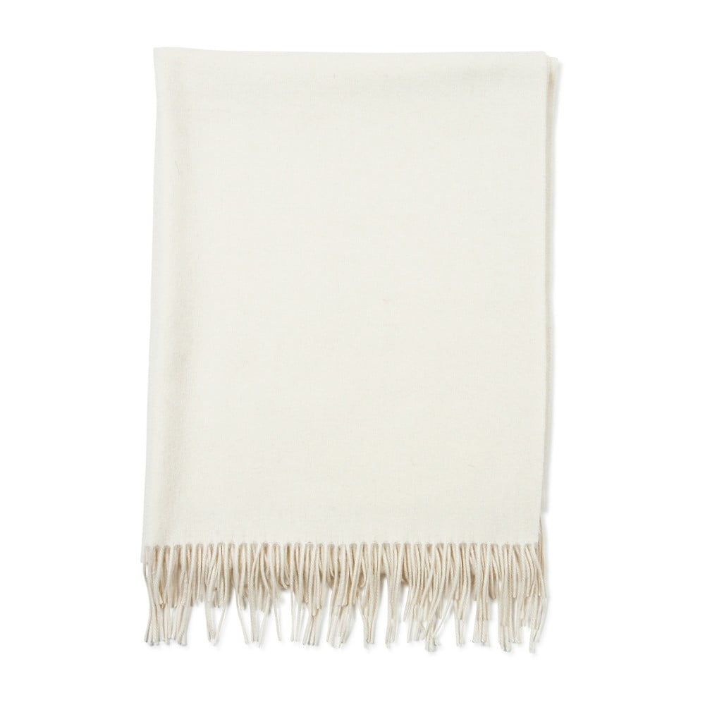 Bílá kašmírová šála Bel cashmere Lea, 200 x 70 cm