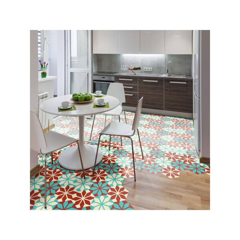 Sada 10 samolepek na podlahu Ambiance Hexagons Lili, 20 x 18 cm
