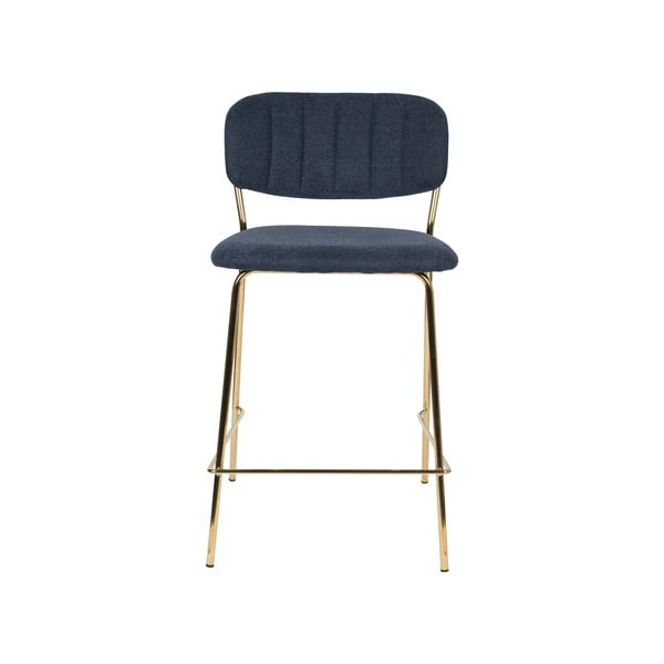 Sada 2 tmavomodrých barových stoličiek s nohami v zlatej farbe White Label Jolien, výška 89 cm