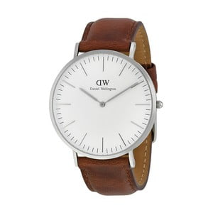 Pánské hodinky s hnědým páskem Daniel Wellington St Andrews Silver, ⌀40mm