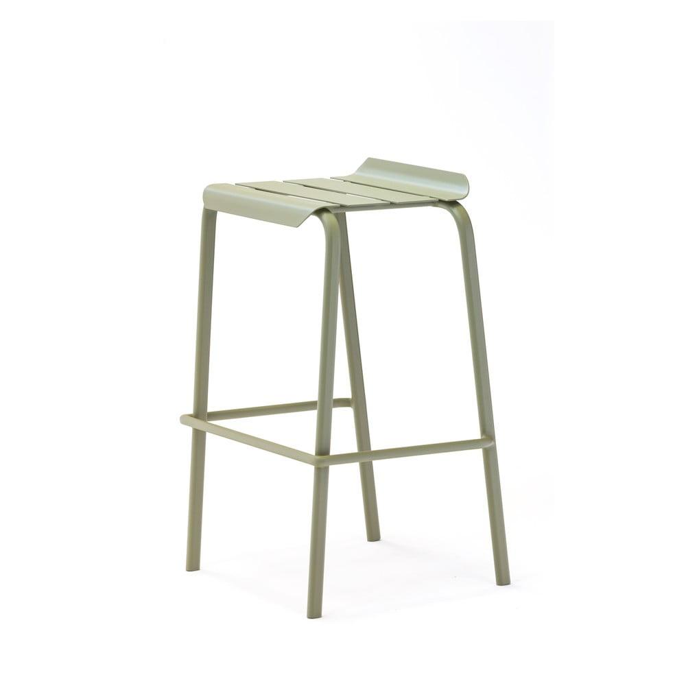 Sada 4 olivově zelených zahradních barových stoliček Ezeis Alicante