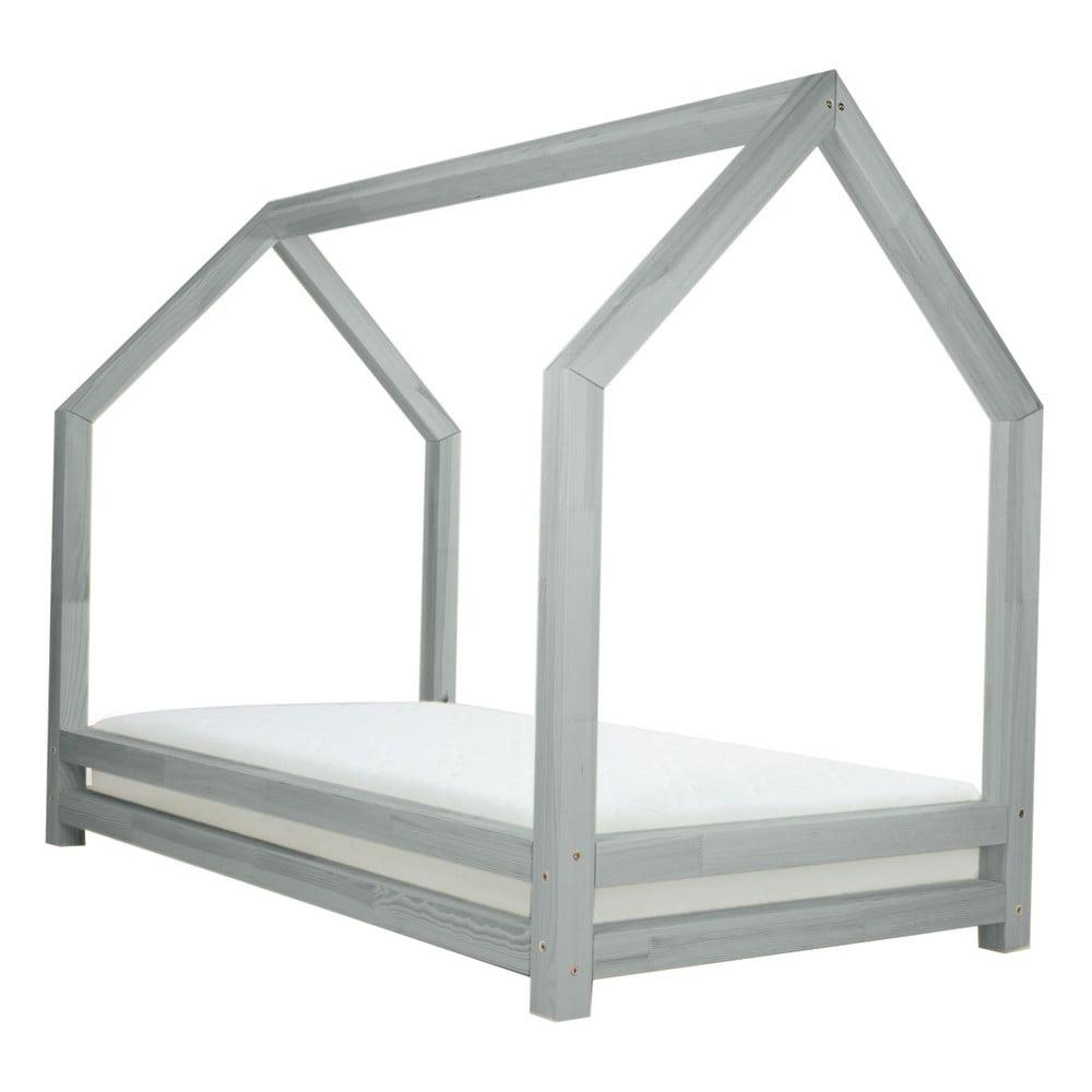 Světle šedá jednolůžková postel z borovicového dřeva Benlemi Funny, 80 x 200 cm