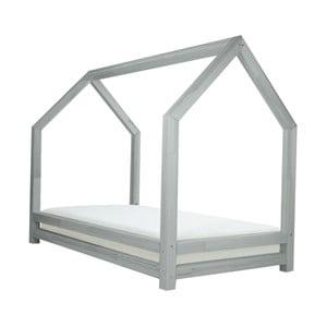 Světle šedá jednolůžková postel z borovicového dřeva Benlemi Funny, 80x160cm