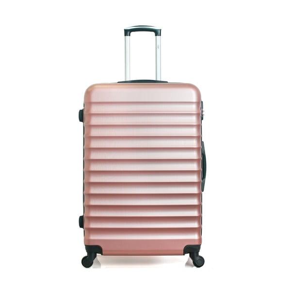 Cestovní kufr ve růžovozlaté barvě na kolečkách Hero Meropi, 97 l