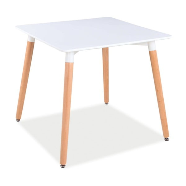 Bílý jídelní stůl s nohama z kaučukového dřeva Signal Nolan, 80x80cm