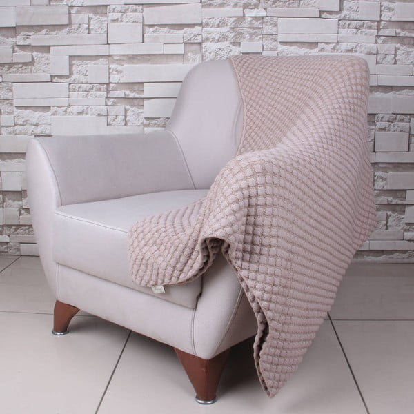 Béžová bavlněná deka Homemania Ecru, 170x130cm