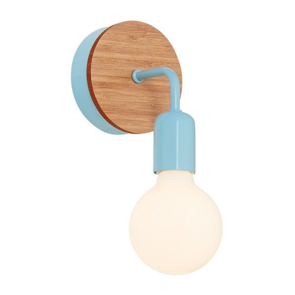 Světle modré nástěnné svítidlo s dřevěným detailem Homemania Valetta