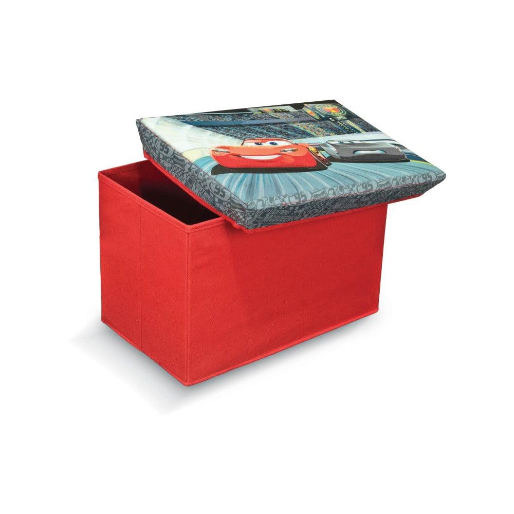 Červená úložná taburetka na hračky Domopak Cars, délka 49 cm