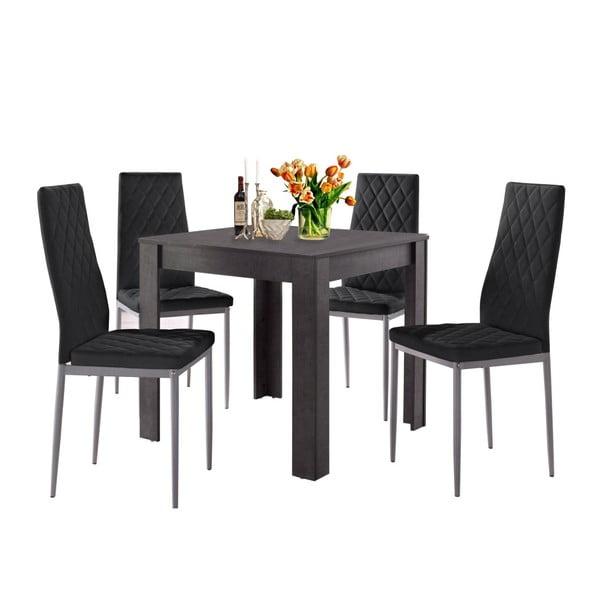 Set jídelního stolu v betonovém dekoru a 4 černých jídelních židlí Støraa Lori and Barak, 80x80cm