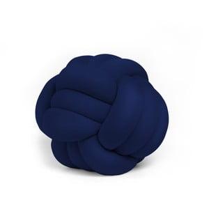 Tmavě modrý polštář Knot Decorative Cushion Velvet Effect, ⌀ 30 cm