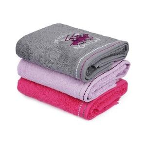 Sada 3 růžovo-šedých bavlněných ručníků na ruce do koupelny, 90 x 50 cm