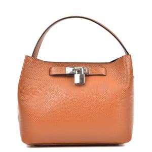 Koňakově hnědá kožená kabelka Isabella Rhea Lock Cognac
