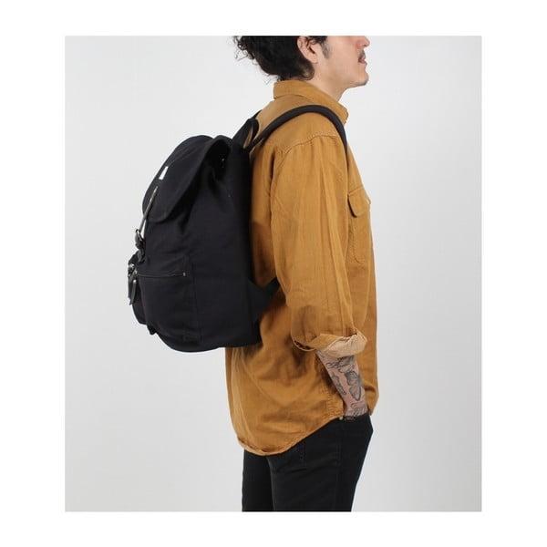 Černý batoh s koženými detaily Sandqvist Roald