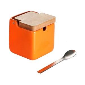 Set oranžové dózy na cukr se lžičkou Versa Spoon Wood