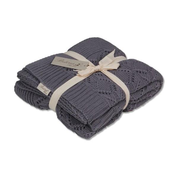 Tmavě šedá bavlněná deka Cotton