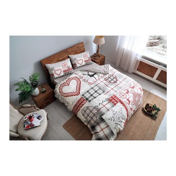 Obliečky s prestieradlom z bavlneného flanelu na jednolôžko Savina Red, 160×220 cm