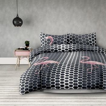 Lenjerie de pat din microfibră AmeliaHome Flamingo Dark, 140 x 200 cm + 50 x 75 cm de la AmeliaHome