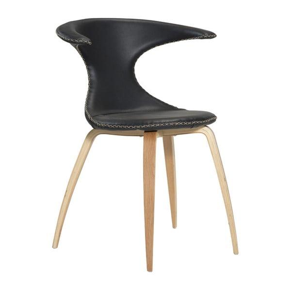 Černá kožená jídelní židle s přírodním podnožím DAN–FORM Denmark Flair