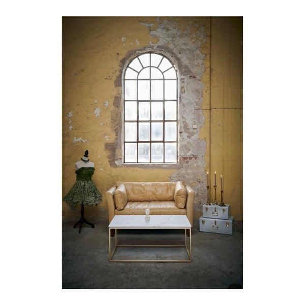 Konferenční stolek s bílou mramorovou deskou a podnožím ve zlaté barvě RGE Accent