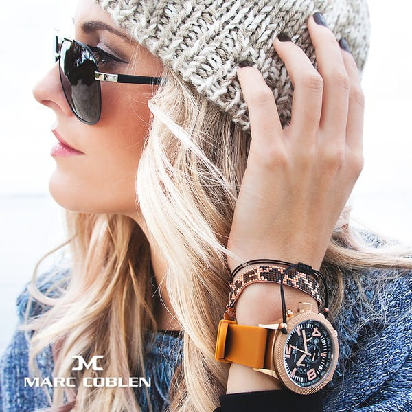 Dámské hodinky Marc Coblen s páskem a kroužkem navíc P112