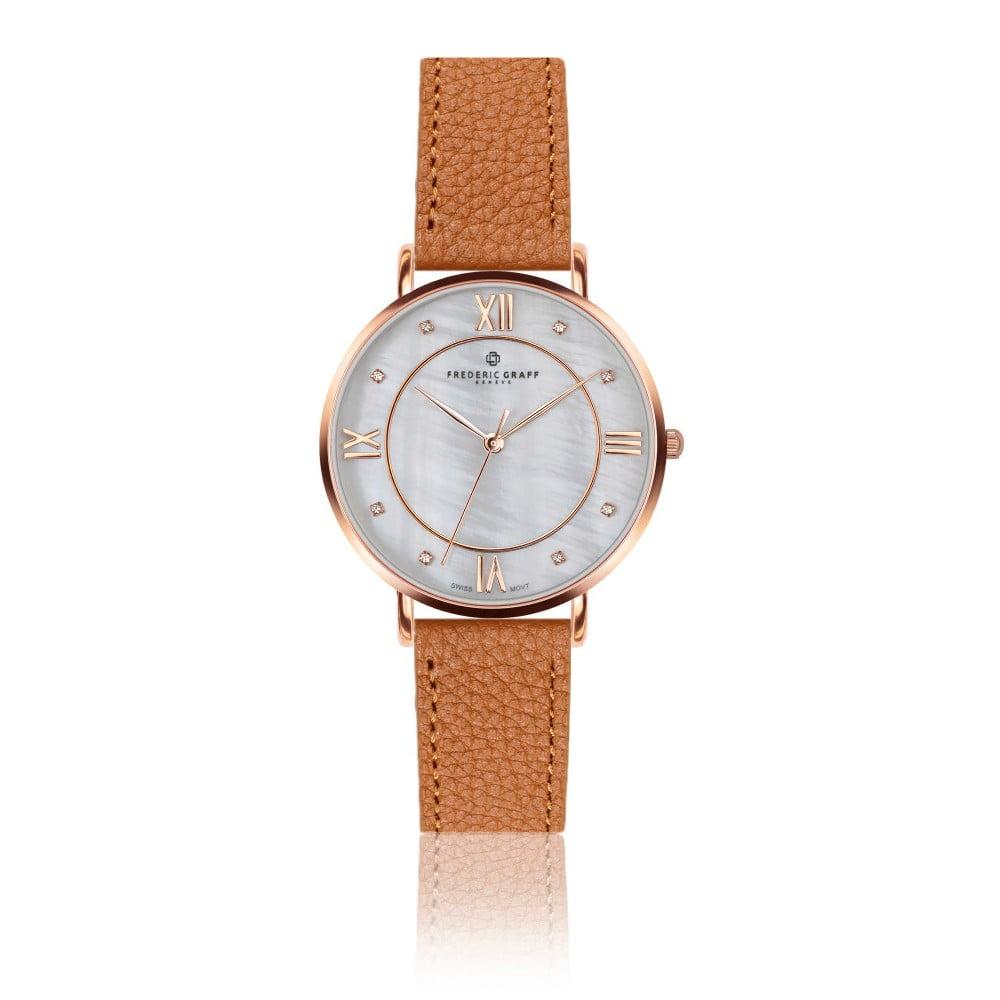 Dámské hodinky s koňakově hnědým páskem z pravé kůže Frederic Graff Rose Liskamm Lychee Ginger