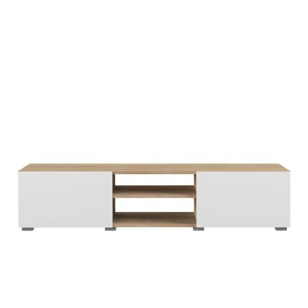 Bílý TV stolek s deskou v dekoru bukového dřeva Symbiosis Podium