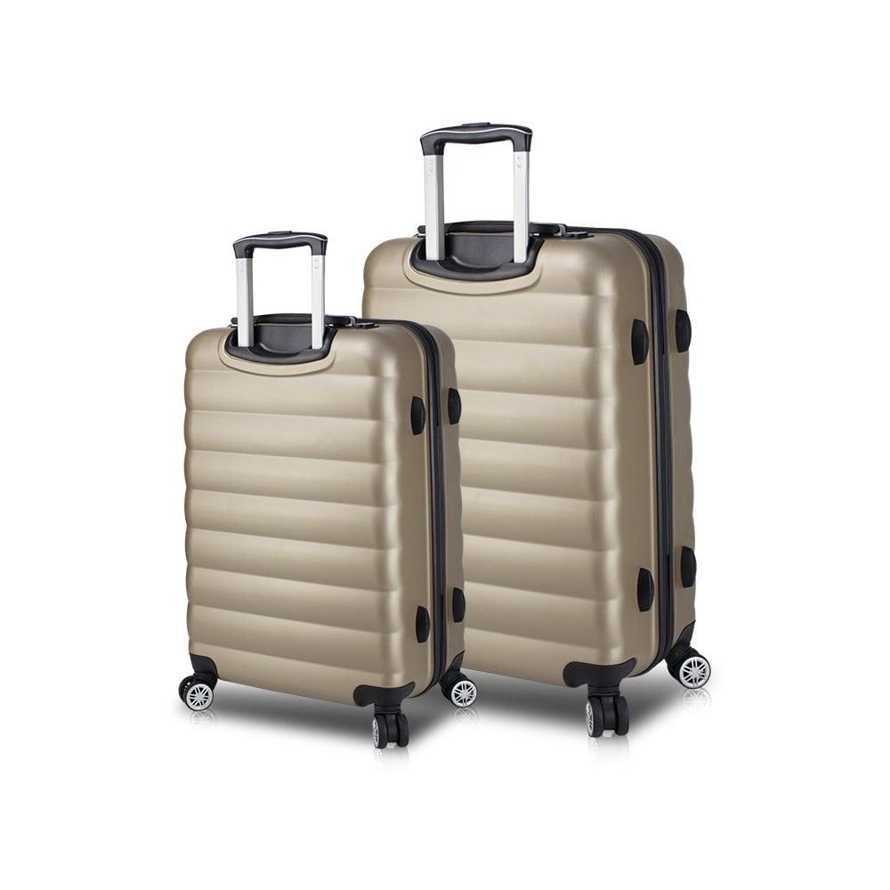 Sada 2 cestovních kufrů na kolečkách s USB porty ve zlaté barvě My Valice RESSNO Large & Medium