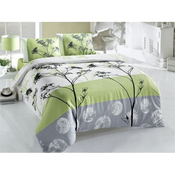 Lenjerie de pat cu cearșaf pentru pat dublu Blezza Green, 160 x 220 cm