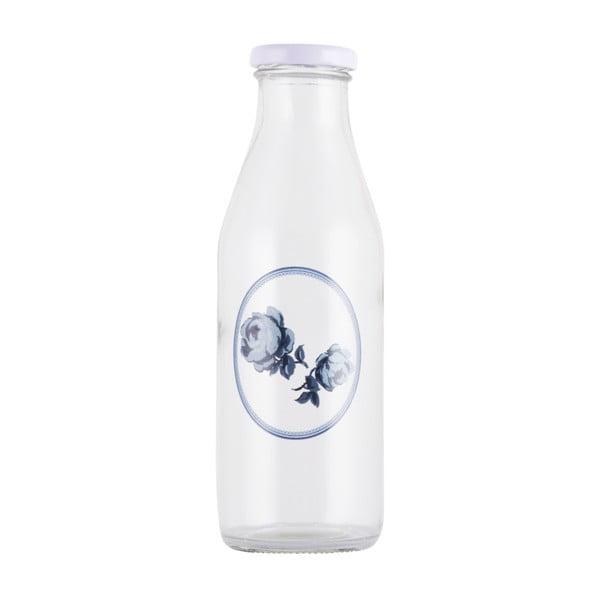 Skleněná lahev na mléko Creative Tops Vintage Indigo, 450 ml