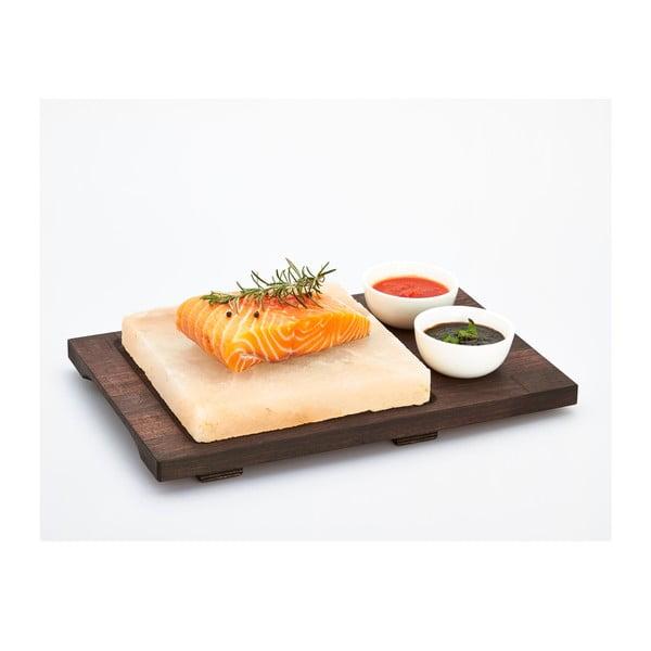 Salt Plate tálaló kősó lappal és tálikákkal, 20 x 20 cm - Bisetti