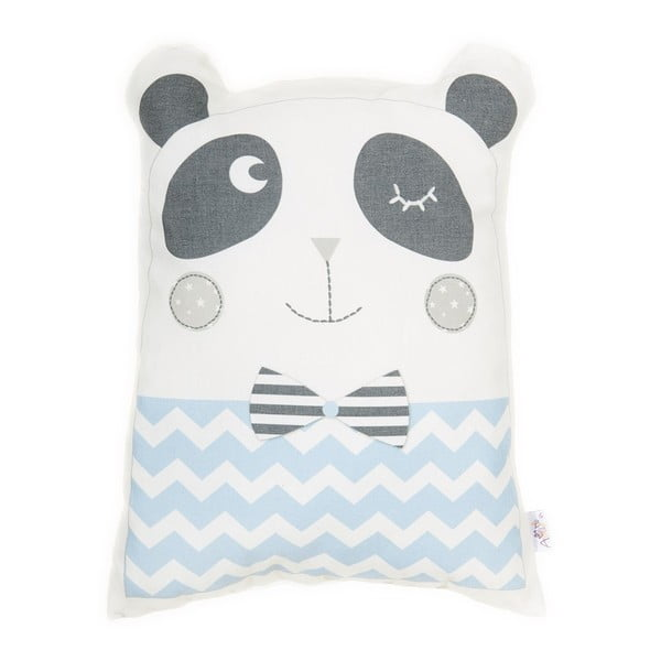 Pernă din amestec de bumbac pentru copii Apolena Pillow Toy Panda, 25 x 36 cm, albastru
