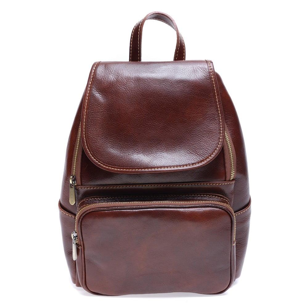 Hnědý kožený batoh Roberta M Francesca