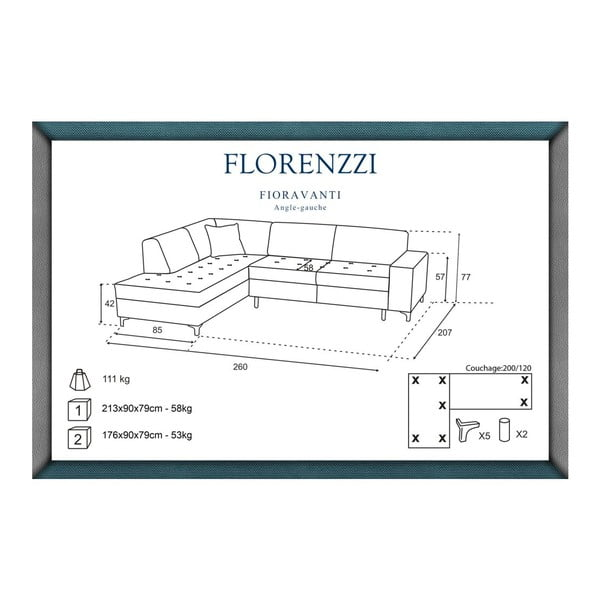 Černá pohovka Florenzzi Fioravanti s lenoškou na levé straně