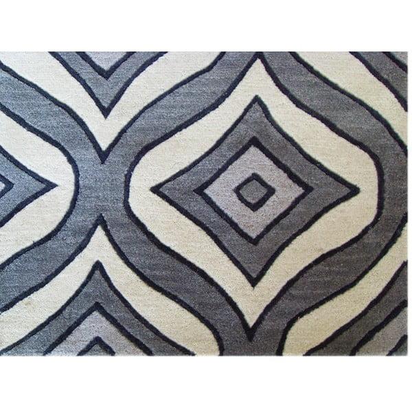 Ručně tuftovaný šedý koberec Bakero Greco, 122x183cm