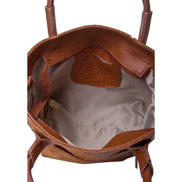 Koňakově hnědá kožená kabelka Massimo Castelli Laurita