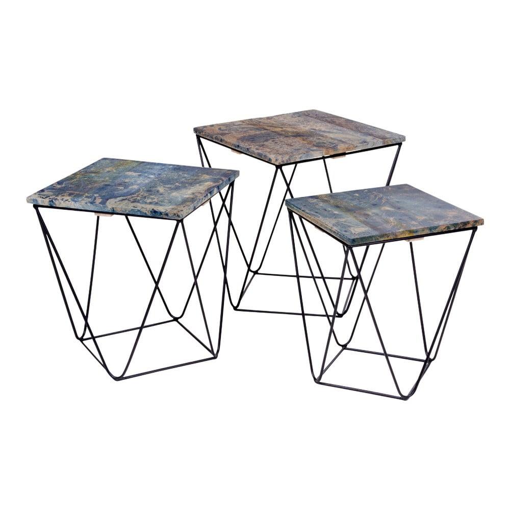 Sada 3 odkládacích stolků s modrou deskou z mangového dřeva House Nordic Ranchi