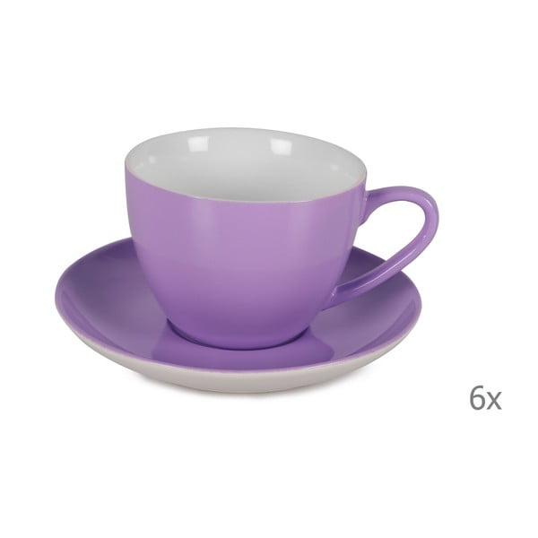 Sada 6 fialových porcelánových hrnků s podšálky Efrasia, 200 ml