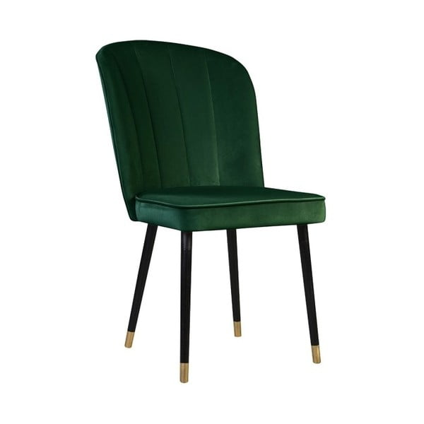 Tmavě zelená jídelní židle s detaily ve zlaté barvě JohnsonStyle Leende
