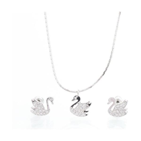 Set náhrdelníku a náušnic Laura Bruni Clear Swan