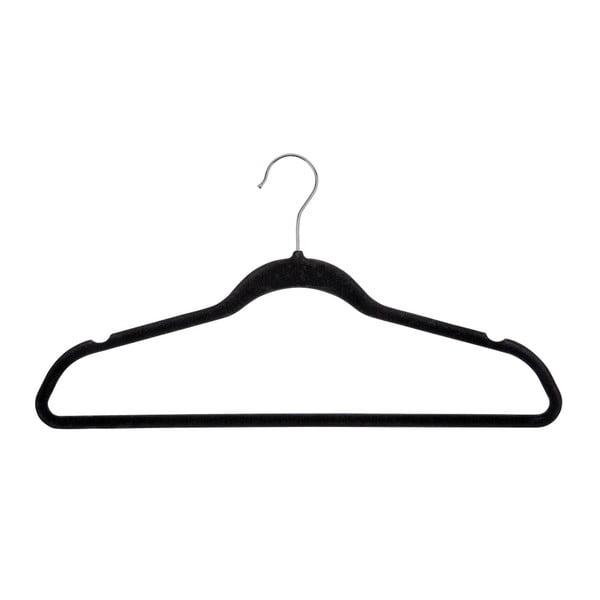 Sada 5 černých plastových ramínek na oblečení Wenko Flocking