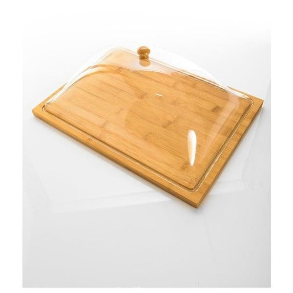 Tavă din bambus cu capac din plastic Bambum Almendro, 37,5 x 27 cm