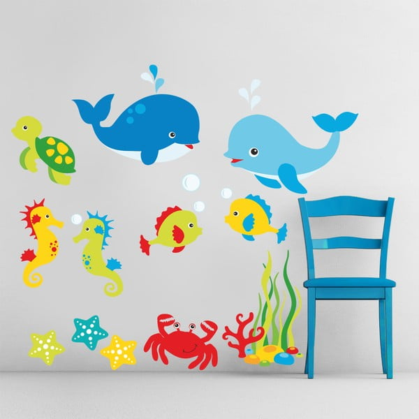 Samolepka na zeď Marine Animals, 70x50 cm