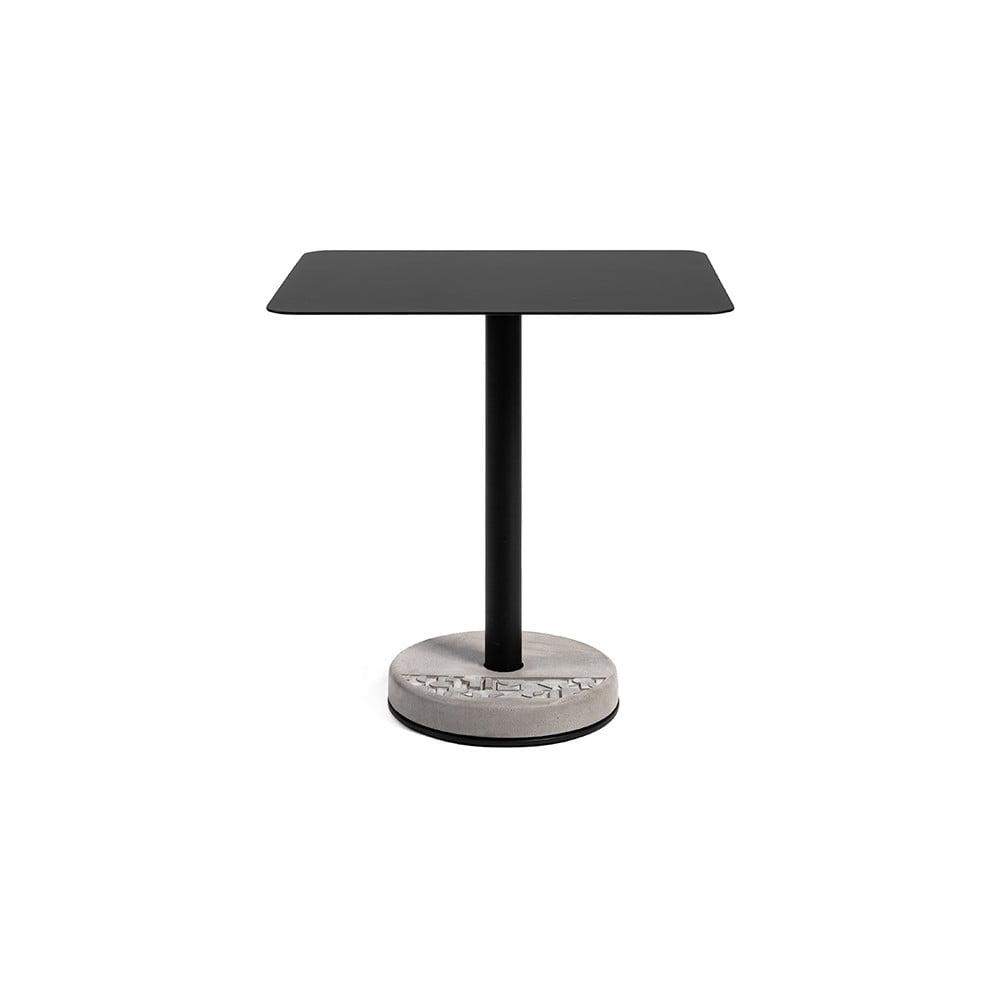 Černo-šedý kovový barový stolek s betonovou základnou Lyon Béton Rectangulaire, 70 x 59 cm